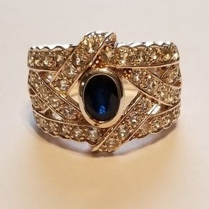Sapphire & White Topaz Cigar Band Style Ring